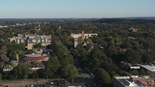 DX0002_208_040 - 5.7K stock footage aerial video wide orbit of church in Rochester, New York