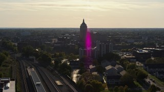 DX0002_209_013 - 5.7K stock footage aerial video of approaching Kodak Tower in Rochester, New York