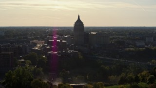 DX0002_209_014 - 5.7K stock footage aerial video of flying toward Kodak Tower in Rochester, New York