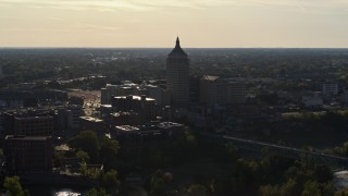 DX0002_209_015 - 5.7K stock footage aerial video of ascending away from Kodak Tower in Rochester, New York