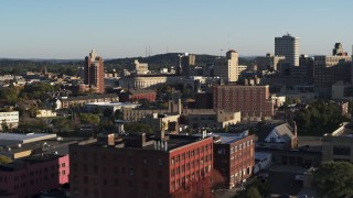 DX0002_209_019 - 5.7K stock footage aerial video of flying by city buildings in Downtown Rochester, New York