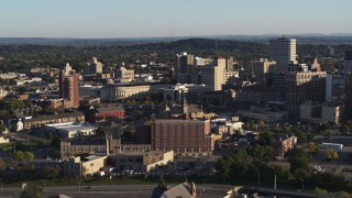 DX0002_209_020 - 5.7K stock footage aerial video of passing by city buildings in Downtown Rochester, New York