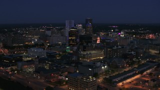 DX0002_210_021 - 5.7K stock footage aerial video of a wide view of the city's skyline at night, Downtown Rochester, New York