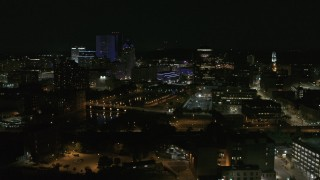 DX0002_210_037 - 5.7K stock footage aerial video of the Genesee River and skyline at night, Downtown Rochester, New York