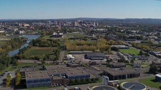 DX0002_211_013 - 5.7K stock footage aerial video of Downtown Syracuse, New York seen from Onondaga Creek