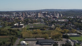 DX0002_211_023 - 5.7K stock footage aerial video of a wide view of Downtown Syracuse, New York