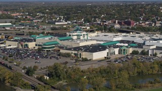 DX0002_211_027 - 5.7K stock footage aerial video of a reverse view of a shopping mall in Syracuse, New York