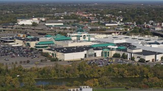 DX0002_211_028 - 5.7K stock footage aerial video of orbiting a shopping mall in Syracuse, New York