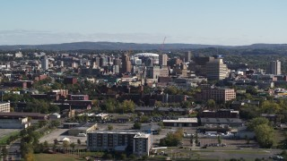 DX0002_212_001 - 5.7K stock footage aerial video of the city's downtown area, Downtown Syracuse, New York