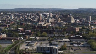 DX0002_212_006 - 5.7K stock footage aerial video of flying past the city's downtown area, Downtown Syracuse, New York