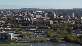 DX0002_212_007 - 5.7K stock footage aerial video of passing the city's downtown area, Downtown Syracuse, New York