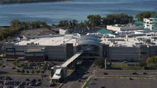 DX0002_212_009 - 5.7K stock footage aerial video orbit the Destiny USA shopping mall in Syracuse, New York