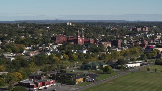 DX0002_212_015 - 5.7K stock footage aerial video of Assumption Church in Syracuse, New York