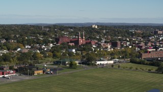 DX0002_212_016 - 5.7K stock footage aerial video of flying by Assumption Church in Syracuse, New York