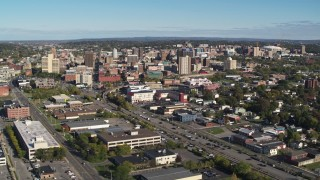 DX0002_212_030 - 5.7K stock footage aerial video of office buildings in the city's downtown area, Downtown Syracuse, New York