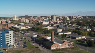 DX0002_212_032 - 5.7K stock footage aerial video of office buildings in the city's downtown area during descent, Downtown Syracuse, New York