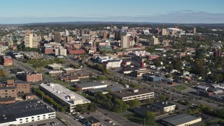 DX0002_212_036 - 5.7K stock footage aerial video of slowly flying by the city's downtown area, Downtown Syracuse, New York