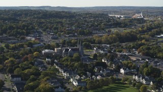 DX0002_213_005 - 5.7K stock footage aerial video of passing by church and a neighborhood in Syracuse, New York