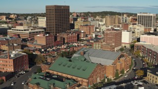 DX0002_213_026 - 5.7K stock footage aerial video of orbiting Chase Tower seen from museum, Downtown Syracuse, New York
