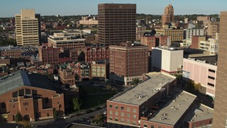 DX0002_213_027 - 5.7K stock footage aerial video of orbiting Chase Tower, reveal apartment high-rise, Downtown Syracuse, New York