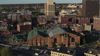 DX0002_213_032 - 5.7K stock footage aerial video of the Museum of Science & Technology, Downtown Syracuse, New York