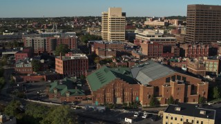 DX0002_213_033 - 5.7K stock footage aerial video of orbiting the Museum of Science & Technology and office buildings, Downtown Syracuse, New York