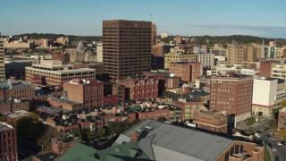 DX0002_213_040 - 5.7K stock footage aerial video of orbiting the Chase Tower office high-rise, Downtown Syracuse, New York