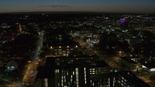 DX0002_215_015 - 5.7K stock footage aerial video of Syracuse University campus buildings at twilight, Syracuse, New York