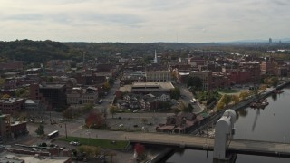 DX0002_216_001 - 5.7K stock footage aerial video of flying over the Green Island Bridge toward downtown, Troy, New York