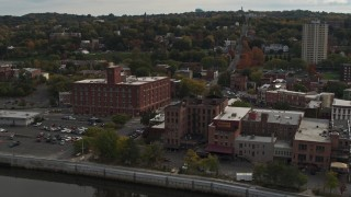 DX0002_216_008 - 5.7K stock footage aerial video orbit and approach brick offices and shops in the downtown area of Troy, New York