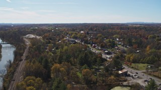 DX0002_216_033 - 5.7K stock footage aerial video orbiting George Street in the small town of Fort Ann, New York