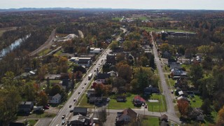DX0002_216_037 - 5.7K stock footage aerial video approach the small town of Fort Ann, New York, reveal George Street