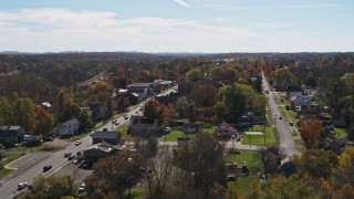 DX0002_216_038 - 5.7K stock footage aerial video a view of George Street in the small town of Fort Ann, New York during descent