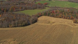 DX0002_216_042 - 5.7K stock footage aerial video of flying by a corn field in Fort Ann, New York