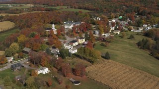 DX0002_217_008 - 5.7K stock footage aerial video of an orbit of the small town of Orwell, Vermont