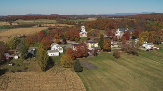 DX0002_217_015 - 5.7K stock footage aerial video of a church in the small town of Orwell, Vermont