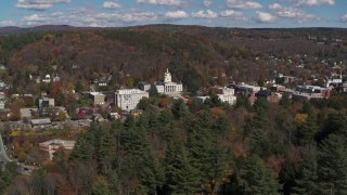 DX0002_218_004 - 5.7K stock footage aerial video of orbiting the state capitol building and downtown in Montpelier, Vermont