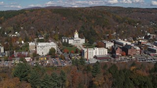 DX0002_218_005 - 5.7K stock footage aerial video orbit and approach the state capitol building and downtown, Montpelier, Vermont