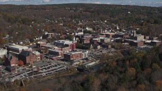 DX0002_218_007 - 5.7K stock footage aerial video of approaching downtown area of the city, Montpelier, Vermont