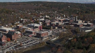 DX0002_218_008 - 5.7K stock footage aerial video of flying away from the downtown area of the city, Montpelier, Vermont