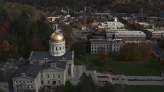 DX0002_219_001 - 5.7K stock footage aerial video of orbiting the golden dome of the Vermont State House in Montpelier