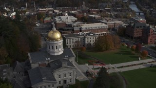 DX0002_219_002 - 5.7K stock footage aerial video circling the golden dome of the Vermont State House in Montpelier