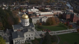 DX0002_219_003 - 5.7K stock footage aerial video of an orbit of the golden dome of the Vermont State House in Montpelier