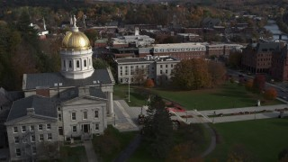 DX0002_219_004 - 5.7K stock footage aerial video orbit the golden dome of the Vermont State House in Montpelier