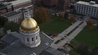 DX0002_219_005 - 5.7K stock footage aerial video circling Vermont State House dome in Montpelier