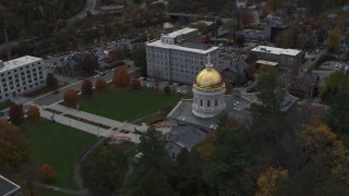 DX0002_219_019 - 5.7K stock footage aerial video approach and descend by the capitol dome, Montpelier, Vermont