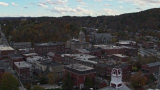 DX0002_219_030 - 5.7K stock footage aerial video of orbiting city hall and downtown buildings, Montpelier, Vermont