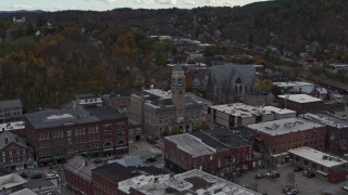 DX0002_219_031 - 5.7K stock footage aerial video approach and orbit city hall and downtown buildings, Montpelier, Vermont