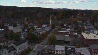 DX0002_219_036 - 5.7K stock footage aerial video of a view of church steeples and downtown buildings, Montpelier, Vermont