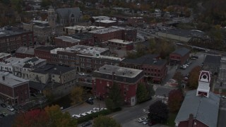 DX0002_219_039 - 5.7K stock footage aerial video of orbiting Asiana House and downtown buildings, Montpelier, Vermont